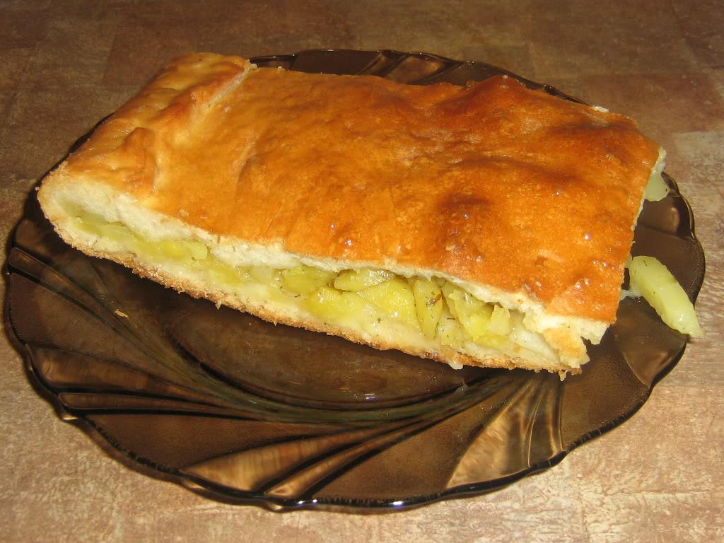 Пирог с фаршем картошкой и луком в духовке с фото