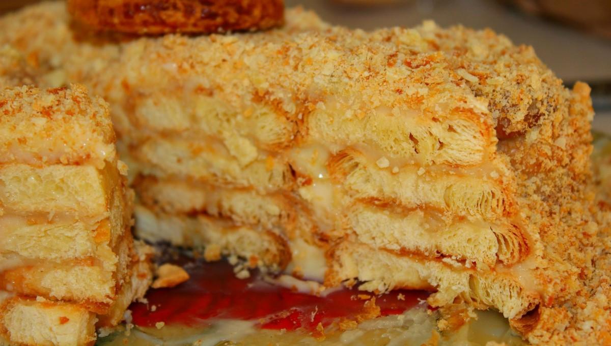 Торт из печенья ушки с заварным кремом рецепт с фото пошагово