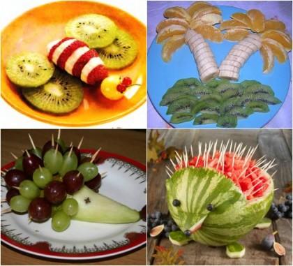 Как фруктами украсить детский стол