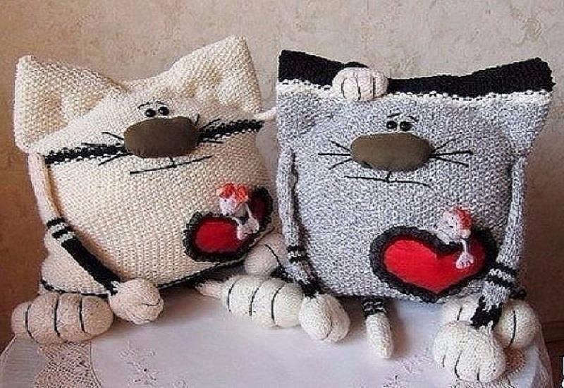 Вязаный кот подушка своими руками