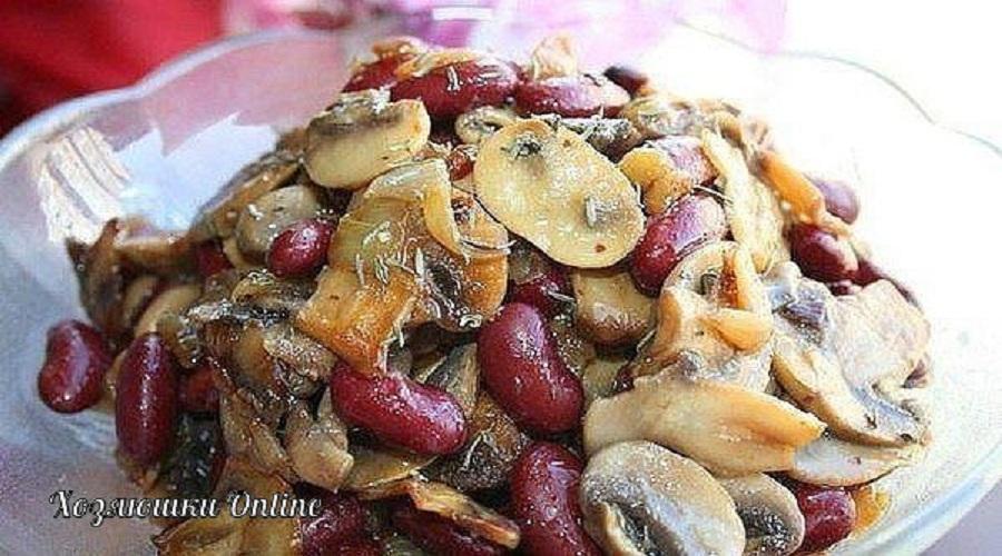 Салат с грибами фасолью и курицей рецепт пошагово