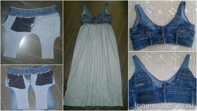 Как сшить платье из старых джинс своими руками