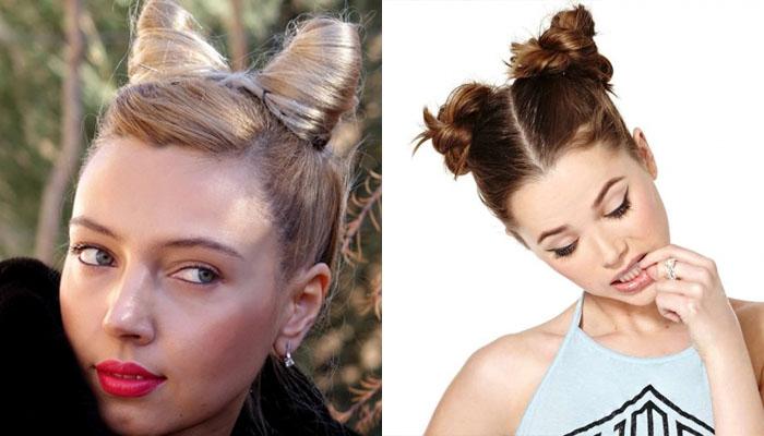 прическа рожки из волос пошагово фото